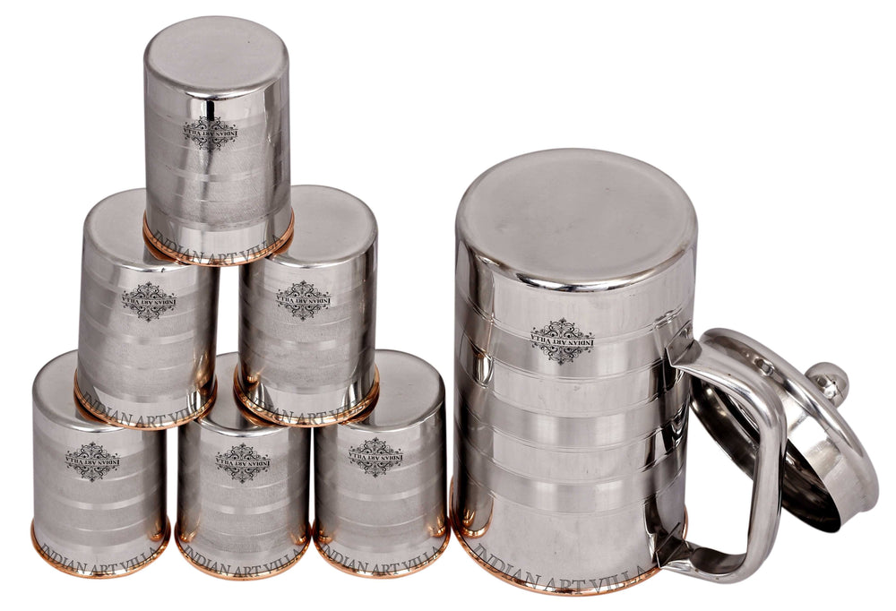 Steel Copper Luxury Design Jug No.4 With Glass Set of - 3 Pieces | 5 Pieces | 7 Pieces Copper Ware Drink Ware Combo SCB-DW