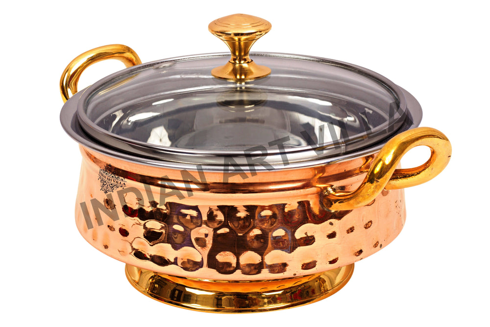 Steel Copper Mughlai Handi with Brass Handle, Bottom and lid Handi CC-17