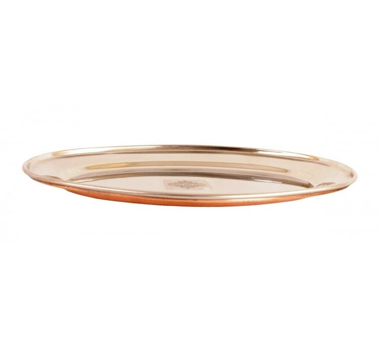 Steel Copper Oval Serving Plate for Dinner