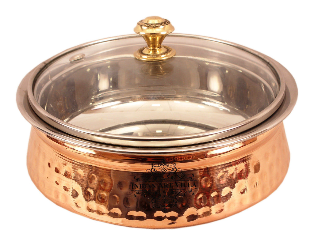 Steel Copper Serving Handi Bowl with Glass Lid 1350 ML