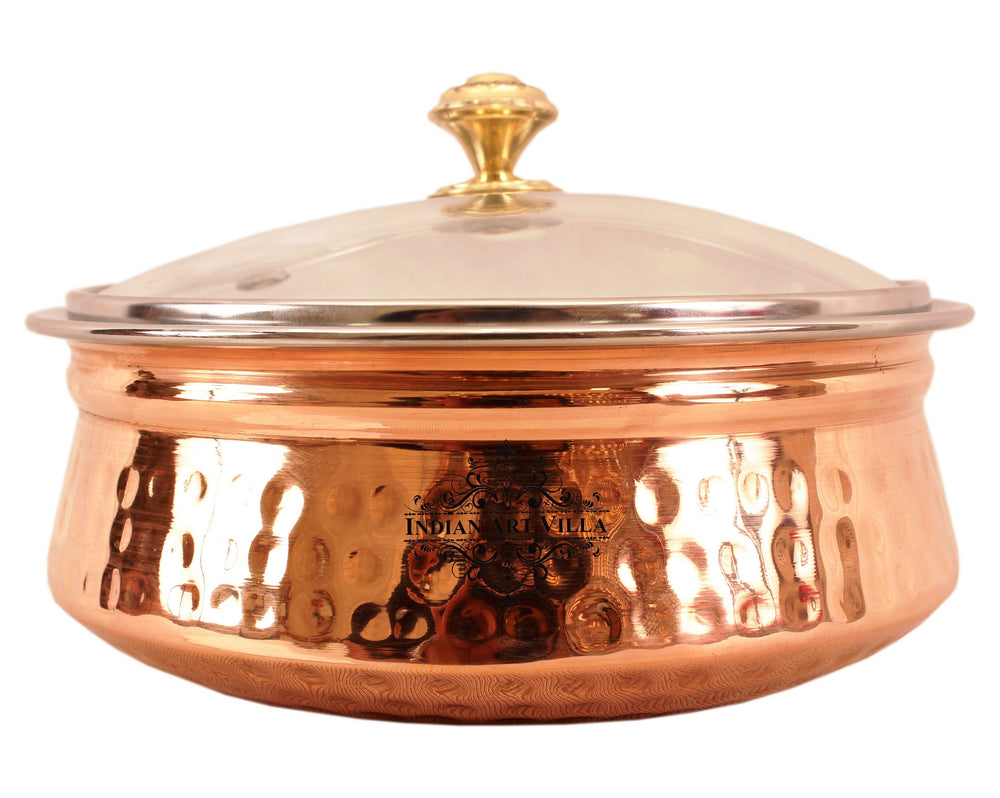 Steel Copper Serving Handi Bowl with Glass Lid 1350 ML Steel Handi IAV-SCB-TW-151