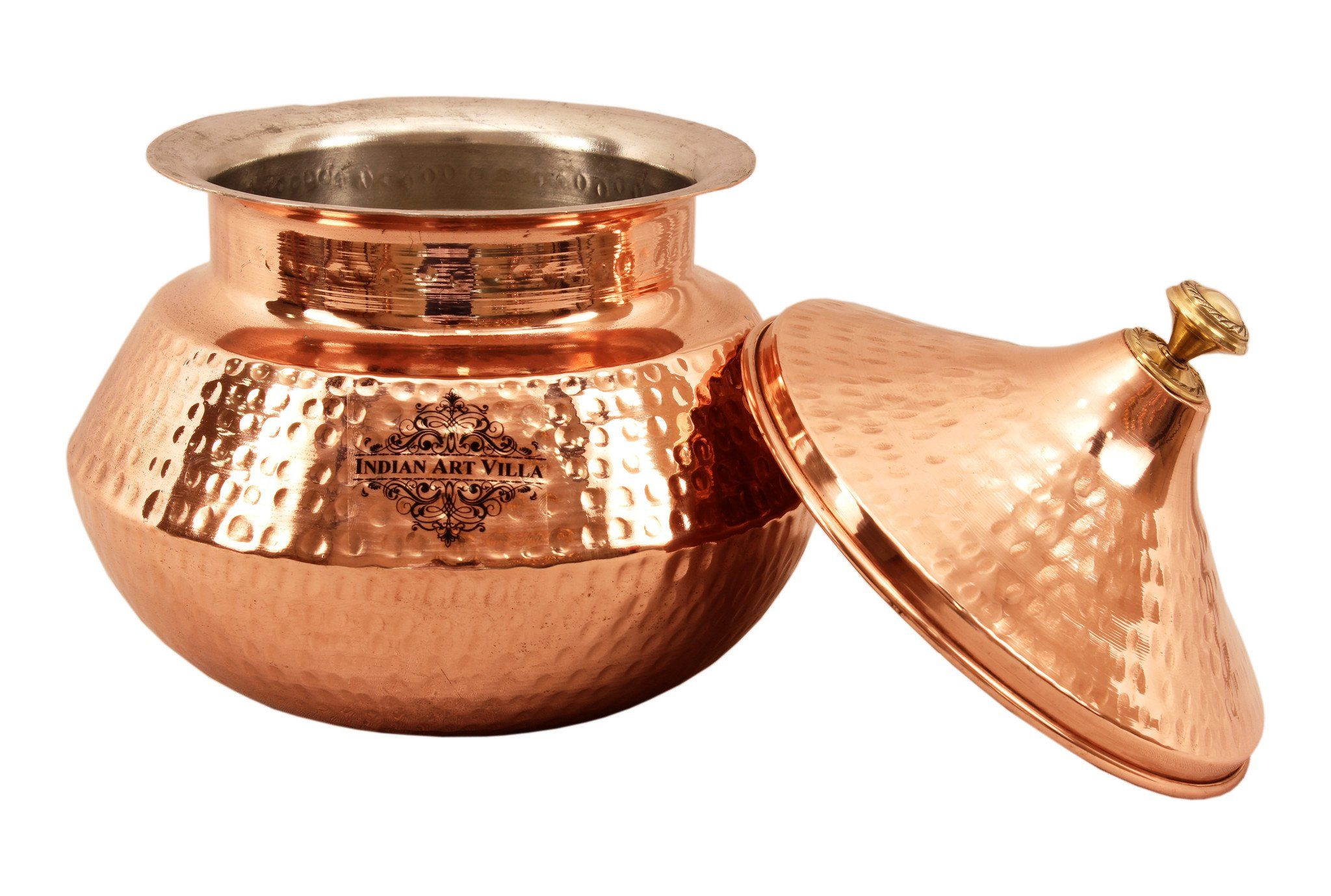 Steel Copper Serving Punjabi Handi with Lid 76 Oz for Serving Dishes