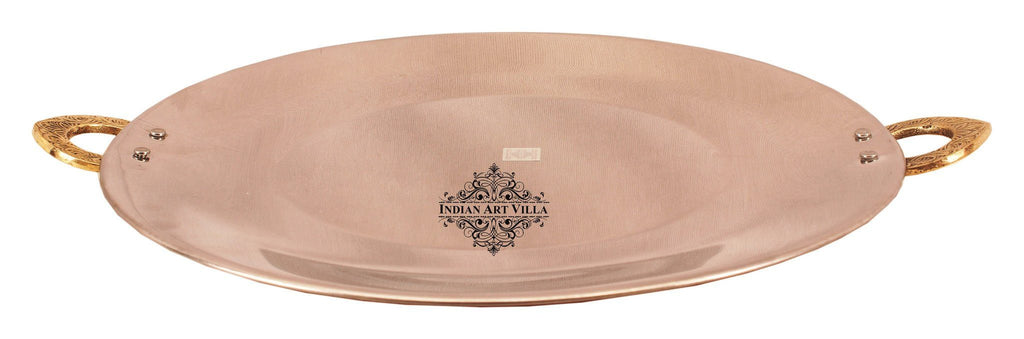 Steel Copper Serving Tawa Platter Platters Indian Art Villa