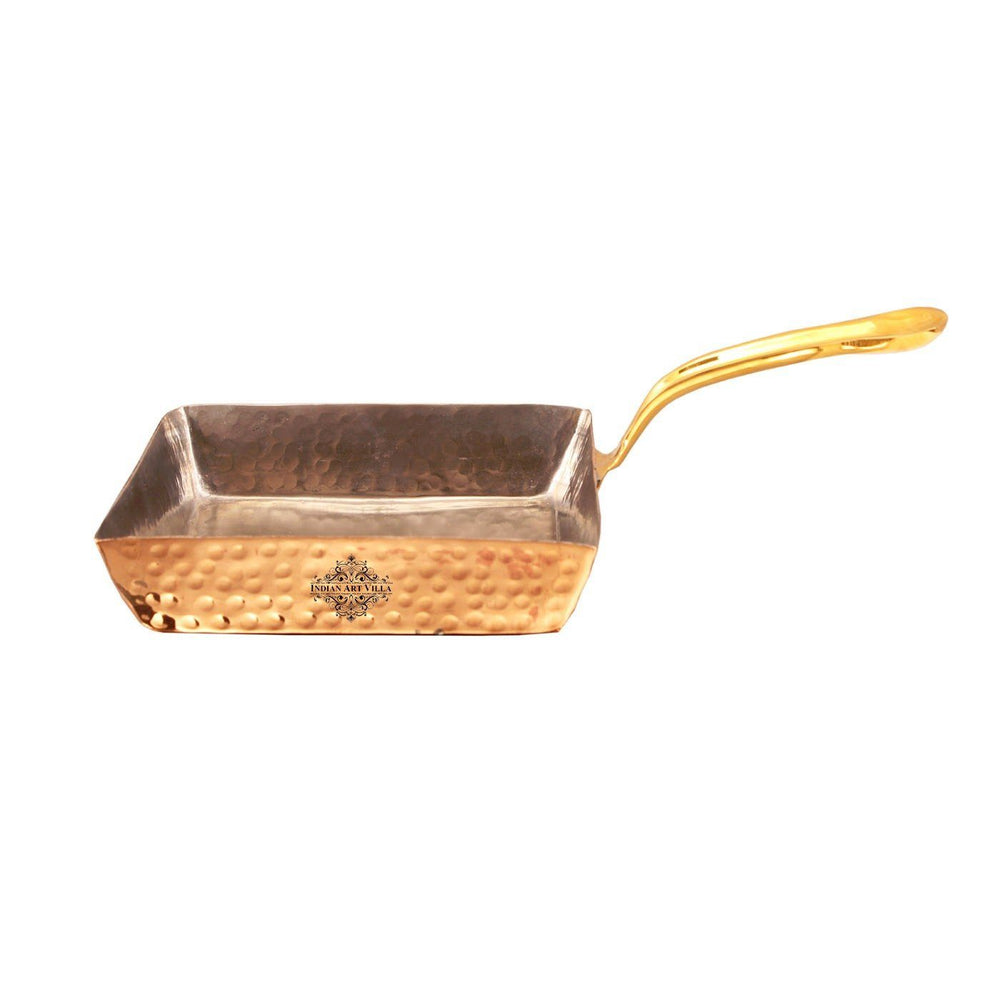 Steel Copper Square Serving Pan with Brass Handle 450 ML Pans CC-17