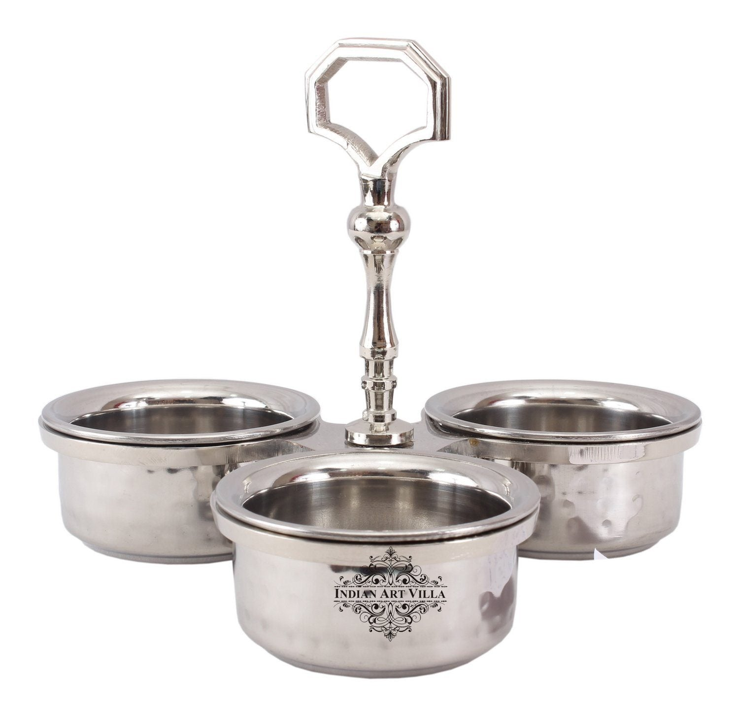 Steel Double Layer Pickel Set 3 Bowl Compartment Condiment Set