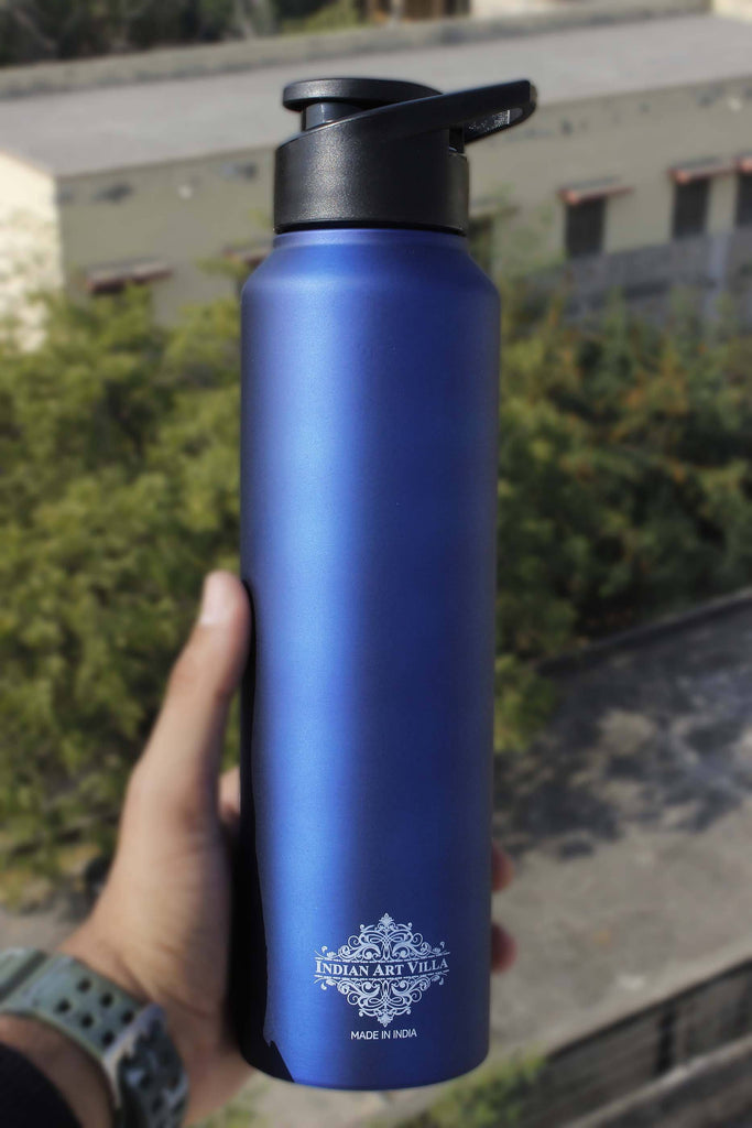 Steel Water Bottle with Sipper Cap Blue Matt 33 Oz