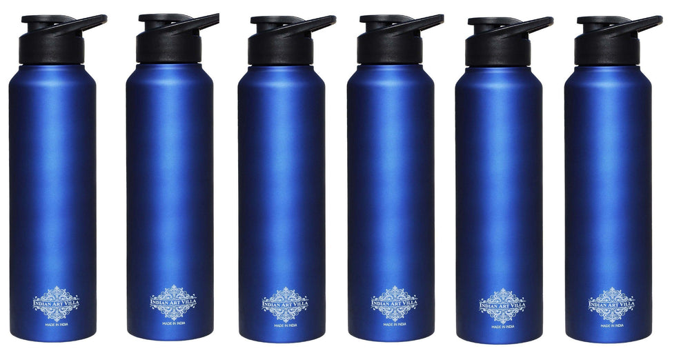 Steel Flat Bottle With Sipper Cap Blue Matt 33 Oz Steel bottles IAV-SS-10-108-1L-BM- 6 Pieces