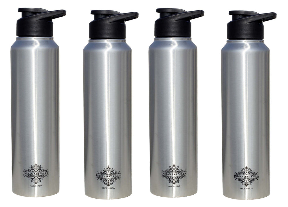 Steel Flat water Bottle Set of 4