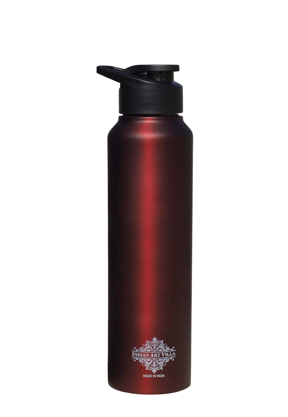 Steel Flat  Bottle With Sipper Cap Wine Matt 33 Oz