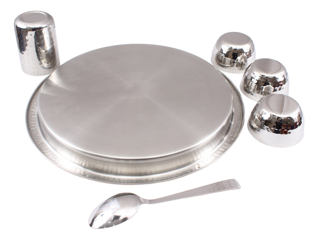 Steel Hammered 6 Piece Thali Set (1 Salver, 3 Bowl, 1 Glass, 1 Spoon) Steel Dinner Sets SB-TW