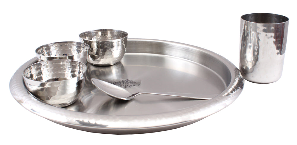 Steel Hammered 6 Piece Thali Set (1 Salver, 3 Bowl, 1 Glass, 1 Spoon)
