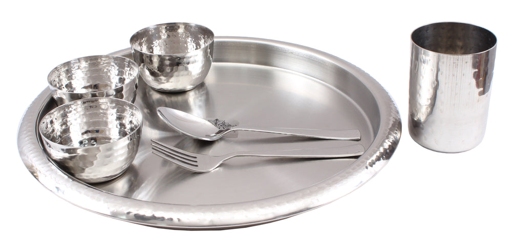 Steel Hammered 7 Piece Thali Set (1 Salver, 3 Bowl, 1 Glass, 1 Spoon, 1 Fork) Steel Dinner Sets SB-TW