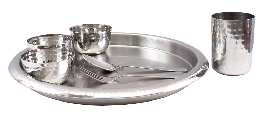 Steel Hammered 7 Piece Thali Set (1 Salver, 3 Bowl, 1 Glass, 1 Spoon, 1 Fork)