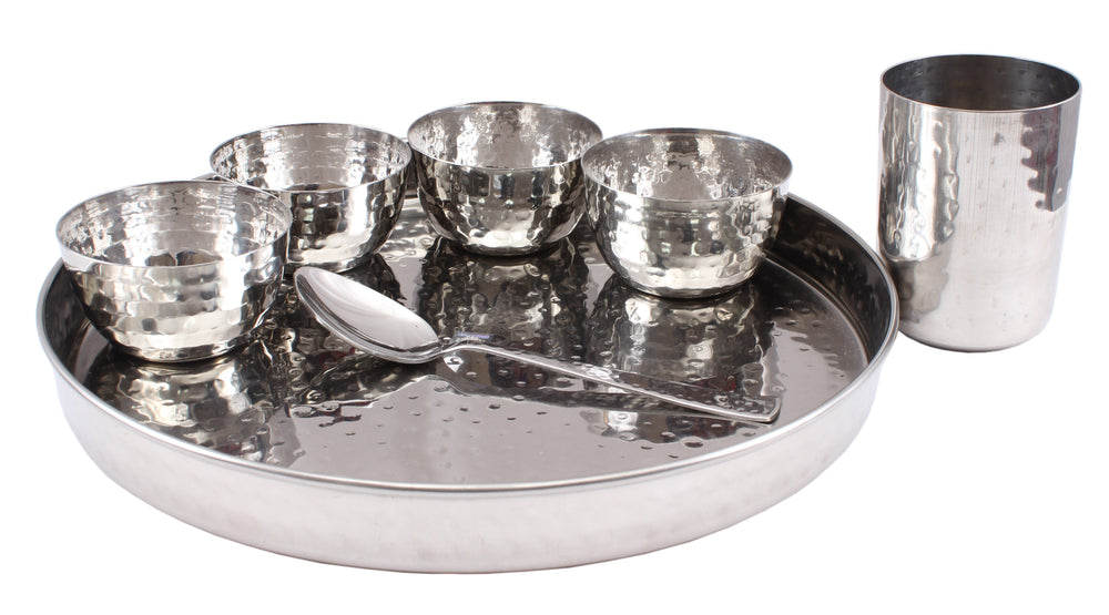 "Steel Hammered 7 Piece Thali Set (1 thali 12"", 4 Bowl, 1 Dessert Spoon, 1 Flat Hammered Glass)"