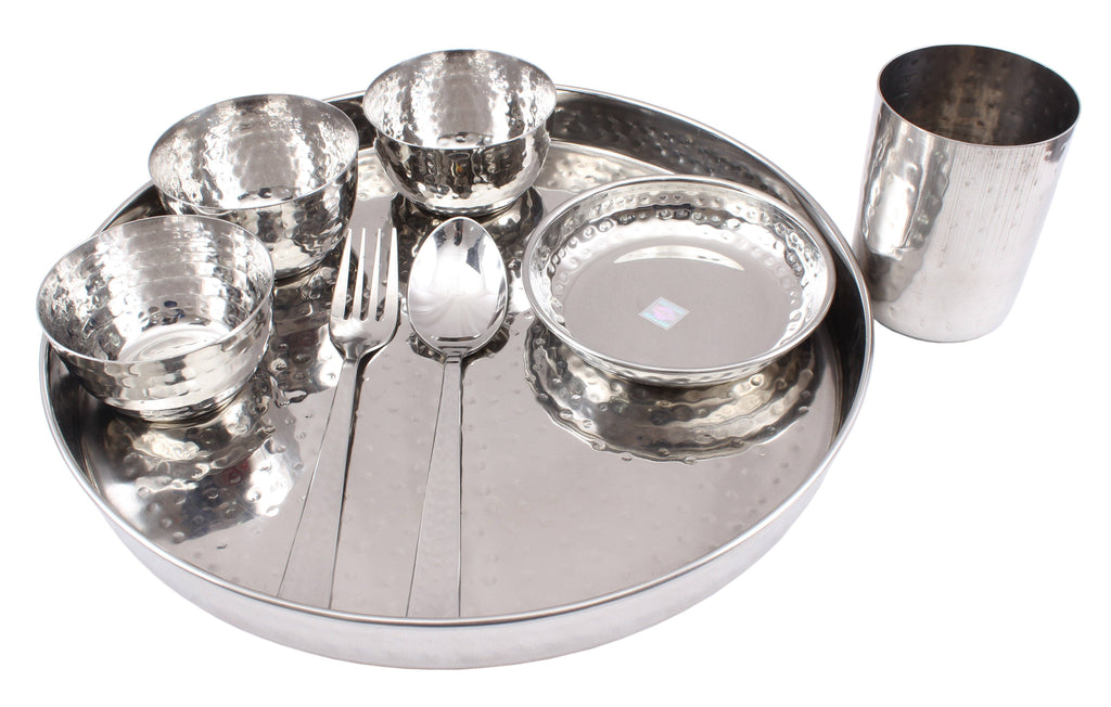 "Steel Hammered 8 Piece Thali Set (1 thali 12"", 3 Bowl, 1 Halwa Plate, 1 Dessert Spoon, 1 Flat Hammered Glass, 1 Dessert Fork) Steel Dinner Sets SS-5"