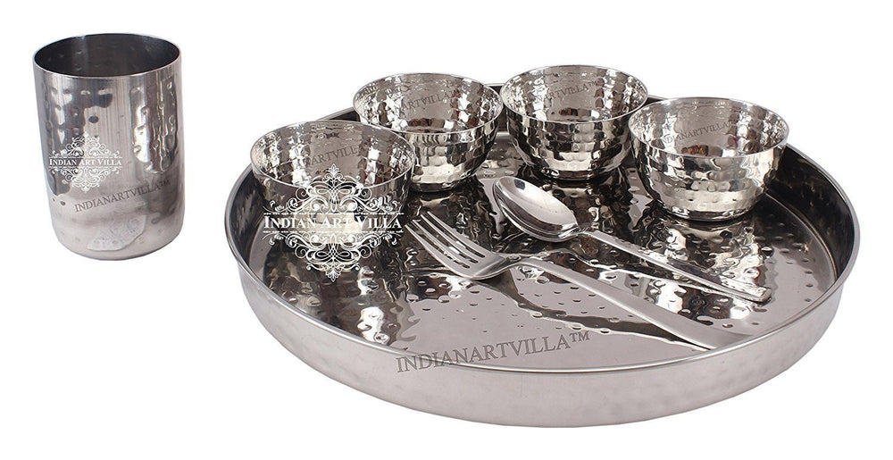 "Steel Hammered 8 Piece Thali Set (1 thali 12"", 4 Bowl, 1 Dessert Spoon, 1 Fork ,1 Flat Hammered Glass)"