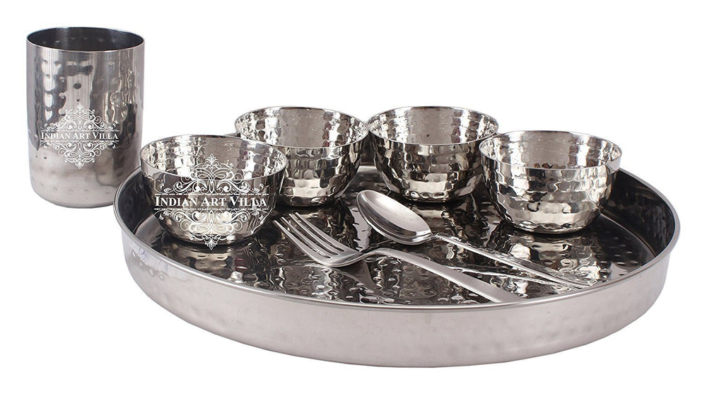 "Steel Hammered 8 Piece Thali Set (1 thali 12"", 4 Bowl, 1 Dessert Spoon, 1 Fork ,1 Flat Hammered Glass) Steel Dinner Sets SB-TW"