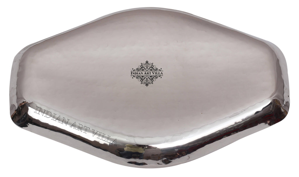 "Steel Hammered Abstract Designer Tray Platter, 7.5'' width | 5.5"" Width Tray SS-5"