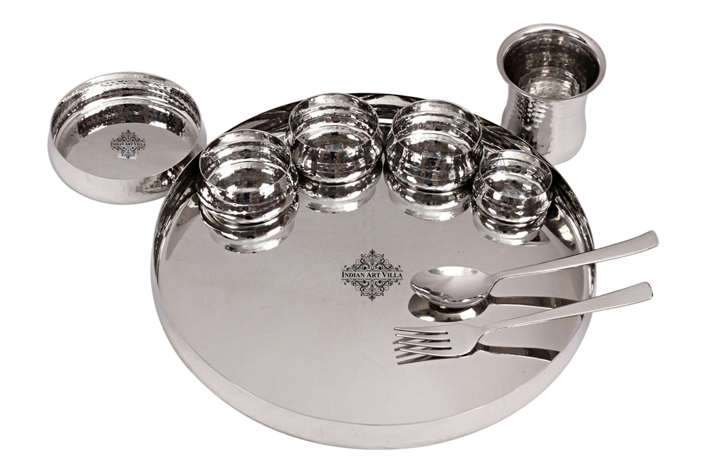 Steel Hammered Curved Dinner Plate Thali Set, Serveware Tableware ( 9 Pieces )