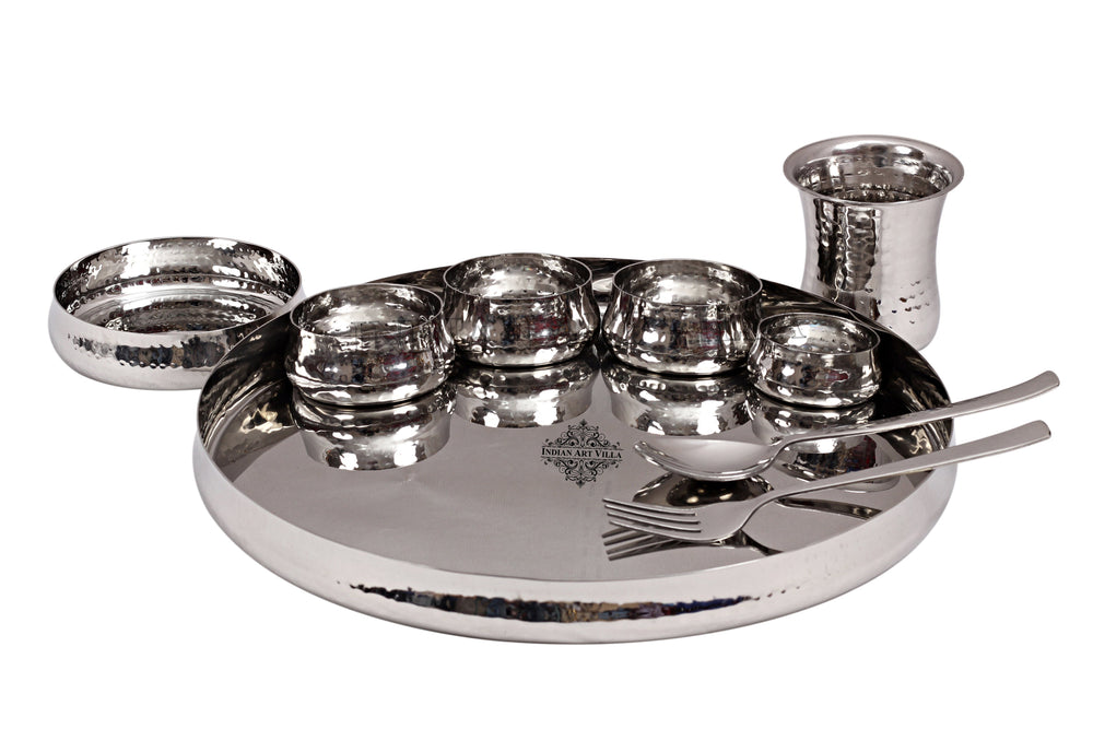 Steel Hammered Curved Dinner Plate Thali Set, Serveware Tableware ( 9 Pieces ) Steel Dinner Sets SS-5