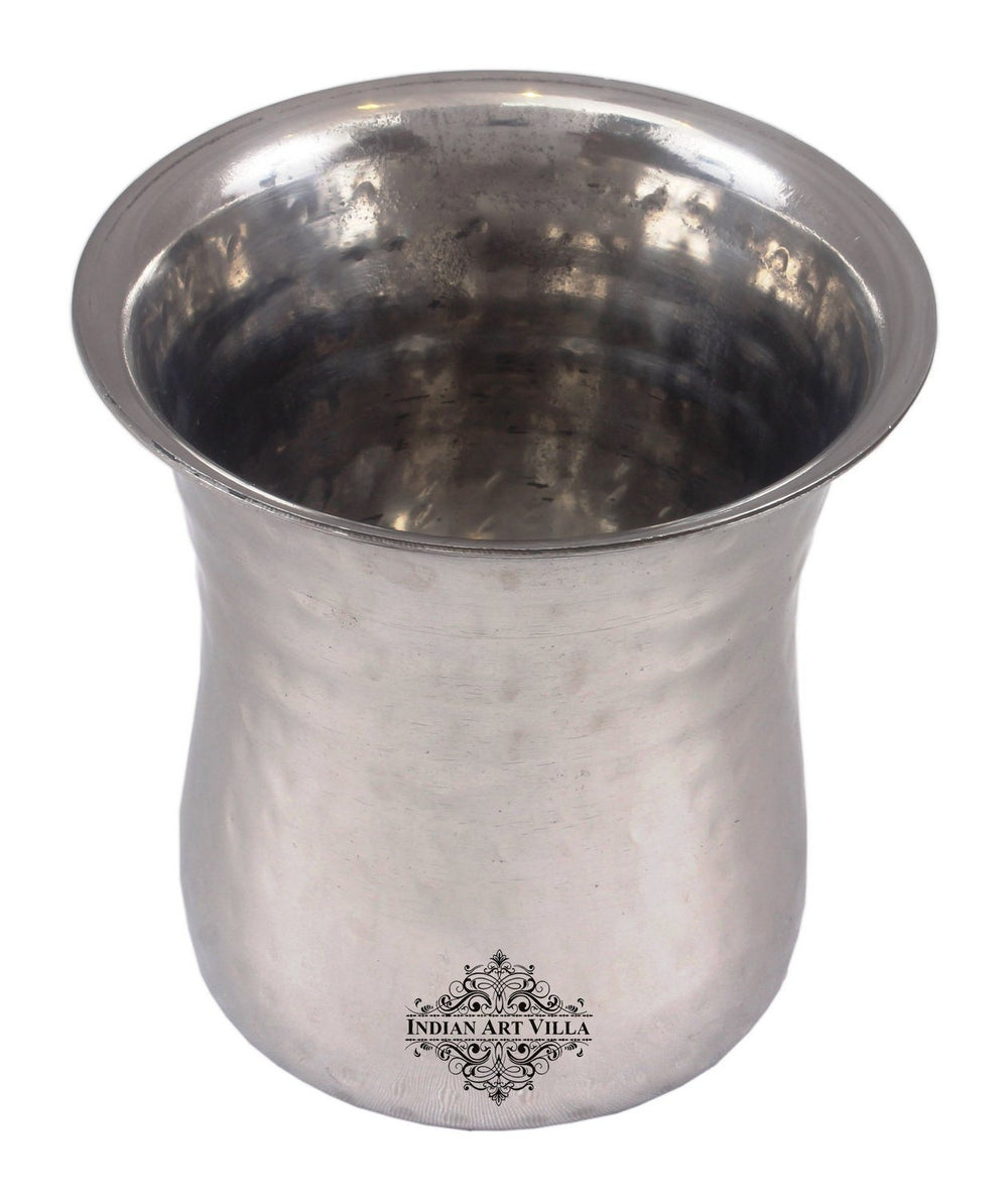 Steel Hammered Curved Glass Tumbler Cup Serving Drinking Water Steel Tumblers Indian Art Villa