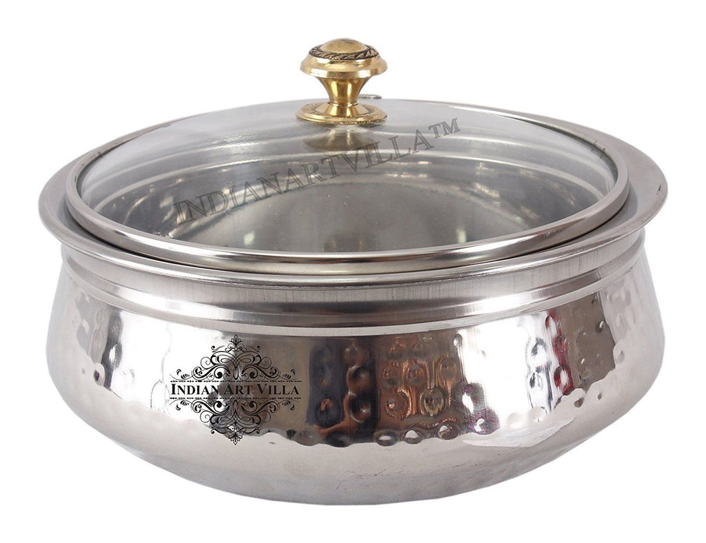 Steel Hammered Design Handi with Glass Lid|1000 ML