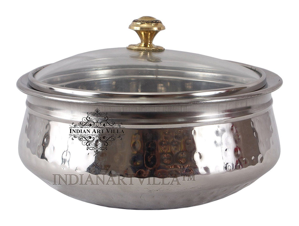 Steel Hammered Design Handi with Glass Lid|1000 ML Steel Handi IndianArtVilla