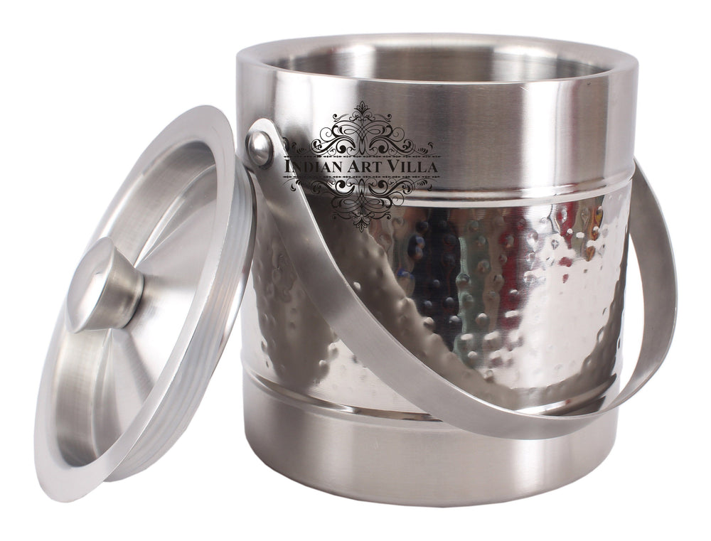 Steel Hammered Ice Bucket|Serving Storing Ice Cubes|Volume 1800 ML Ice Containers SS-5