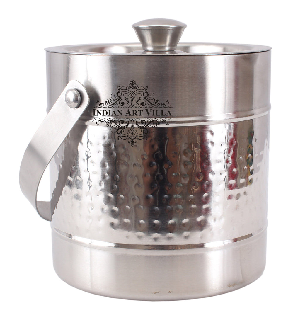 Steel Hammered Ice Bucket|Serving Storing Ice Cubes|Volume 1800 ML