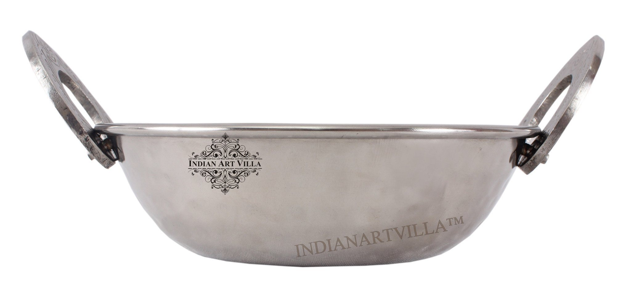 Steel Hammered Kadhai Wok with Embossed Handle