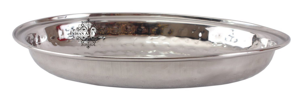 Steel Hammered Oval Entree Dish Bowl