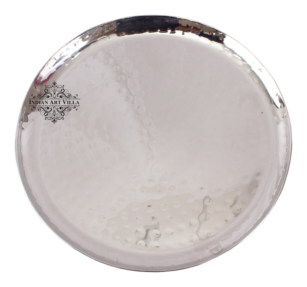 Steel Hammered Round Platter Tray|Serving Dish Tableware Steel Platter SS-5 19 Cm