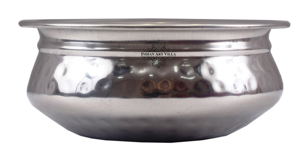 "Steel Hammered Serving Handi|Serving Dishes Briyani Steel pans SS-5 17.5"" Inch"