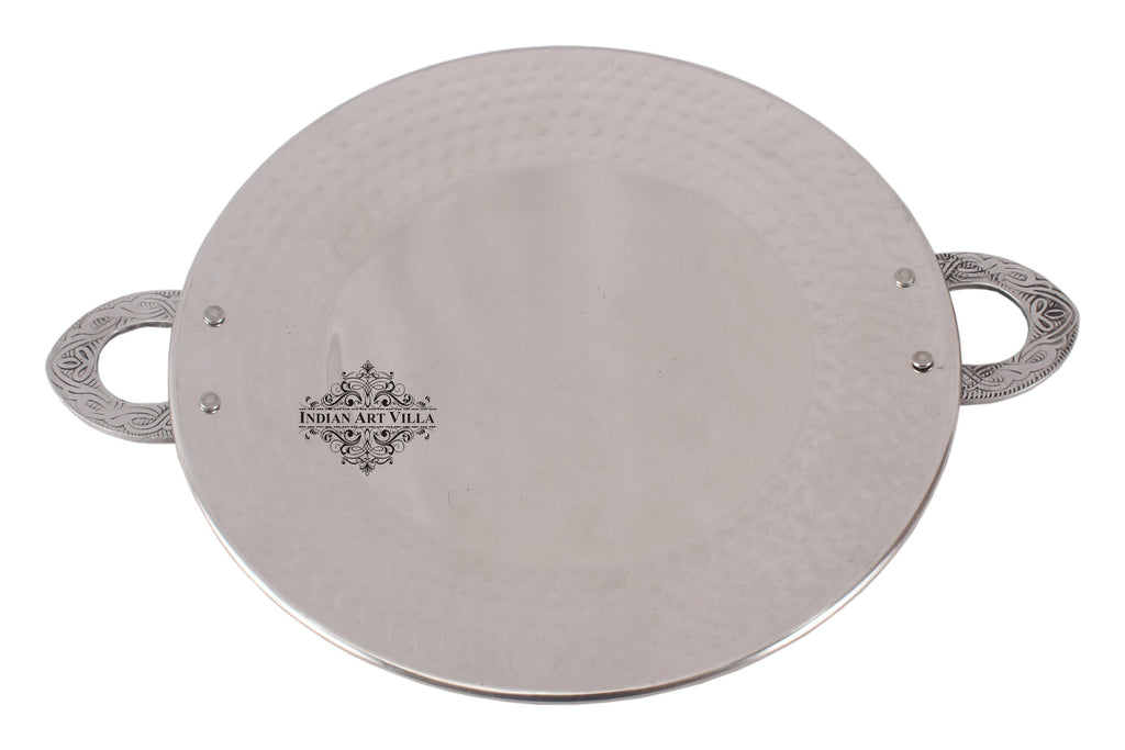 Steel Hammered Tawa Pan Tray with Embossed Handle|Serving Dishes|Diameter 17.5 cm Tava SS-5 17.5 Cm