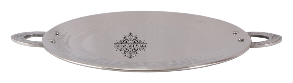 Steel Hammered Tawa Pan Tray with Embossed Handle|Serving Dishes|Diameter 17.5 cm