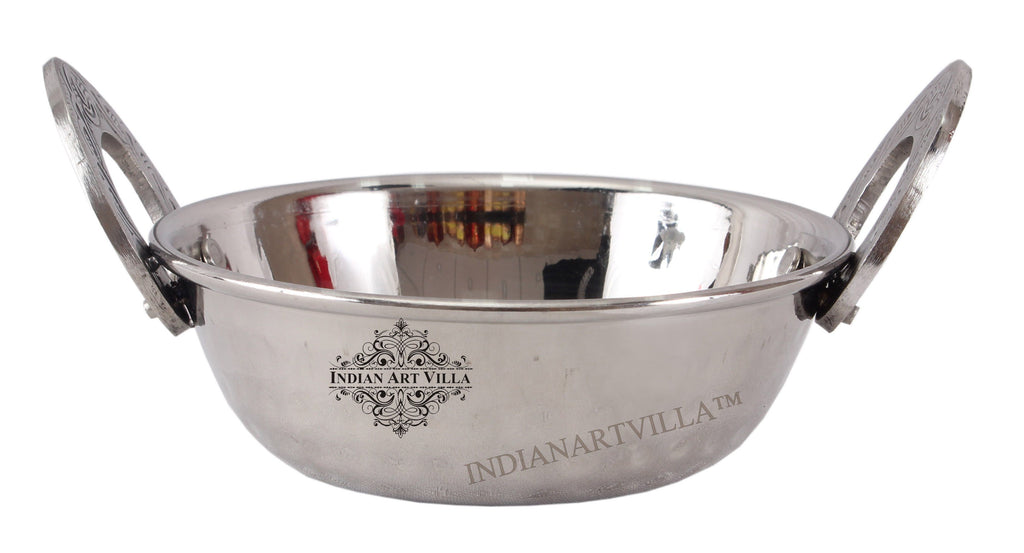 Steel Kadhai Wok with Embossed Design Handle - Serving Dishes Hotel Restaurant Steel Kadai SS-5