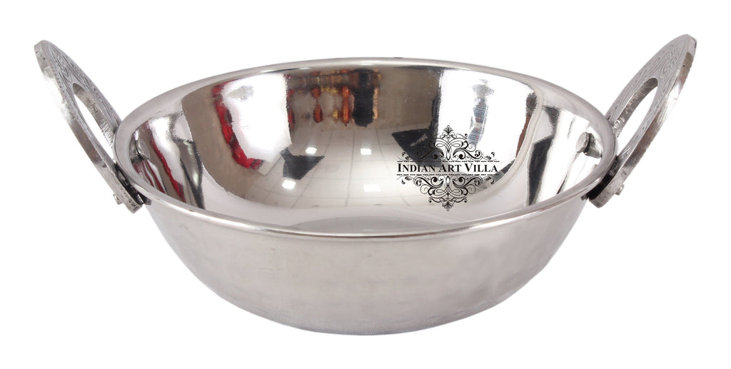 Steel Kadhai Wok with Embossed Design Handle - Serving Dishes Hotel Restaurant