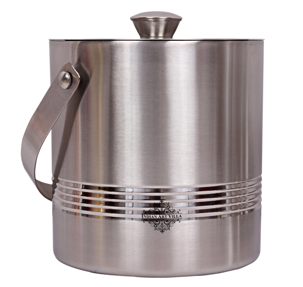 Steel Lining Design Ice Bucket with Lid & Handle, Serveware Tableware, Volume 1700 ML