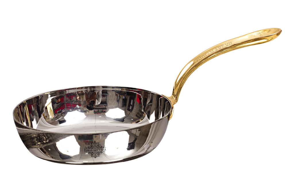 Steel Mirror Finish Fry Pan with Brass Handle, Serving & Fry Food Steel pans SS-3 Big