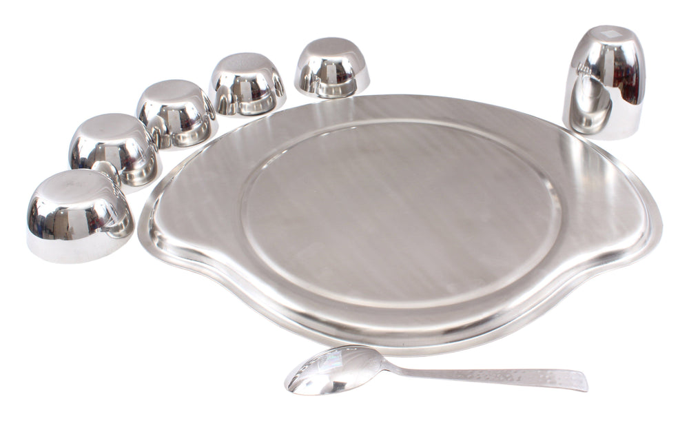 "Steel Plain Konika 8 Piece Big Thali Set (1 Thali 15"", 5 Bowl, 1 Konika Glass, 1 Spoon) Steel Dinner Sets SB-TW"