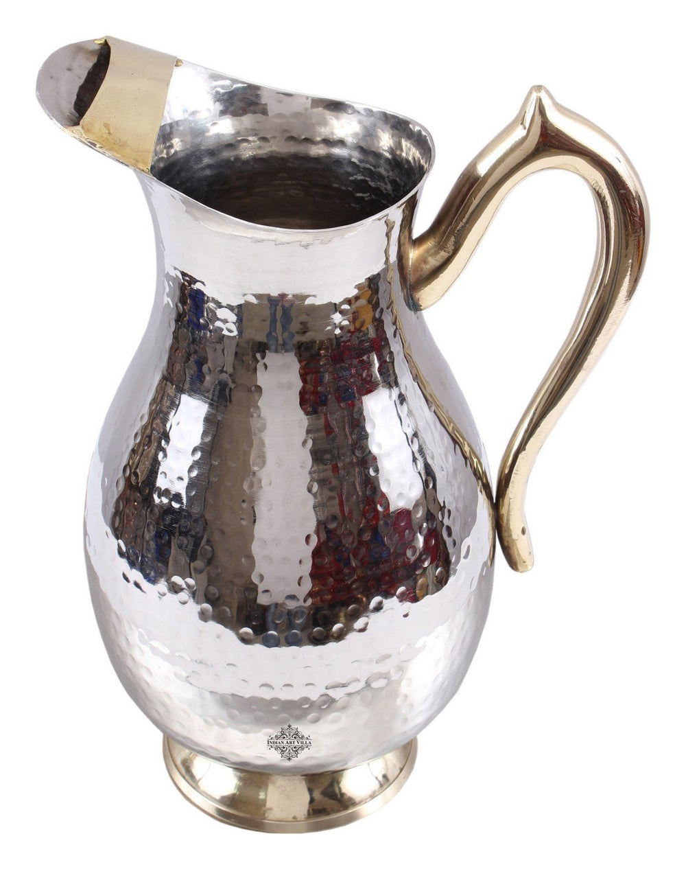 Steel Royal Hammered Jug Pitcher with Brass Handle Serving Water 64 Oz Steel Jugs Indian Art Villa