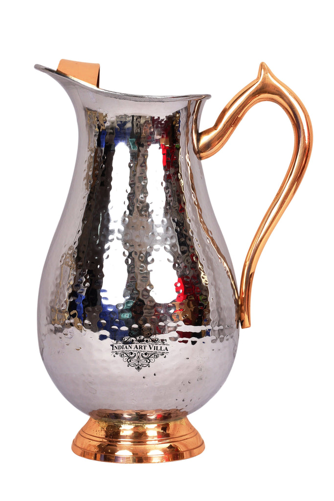 Steel Royal Hammered Jug Pitcher with Brass Handle|Serving Water 2000 ML