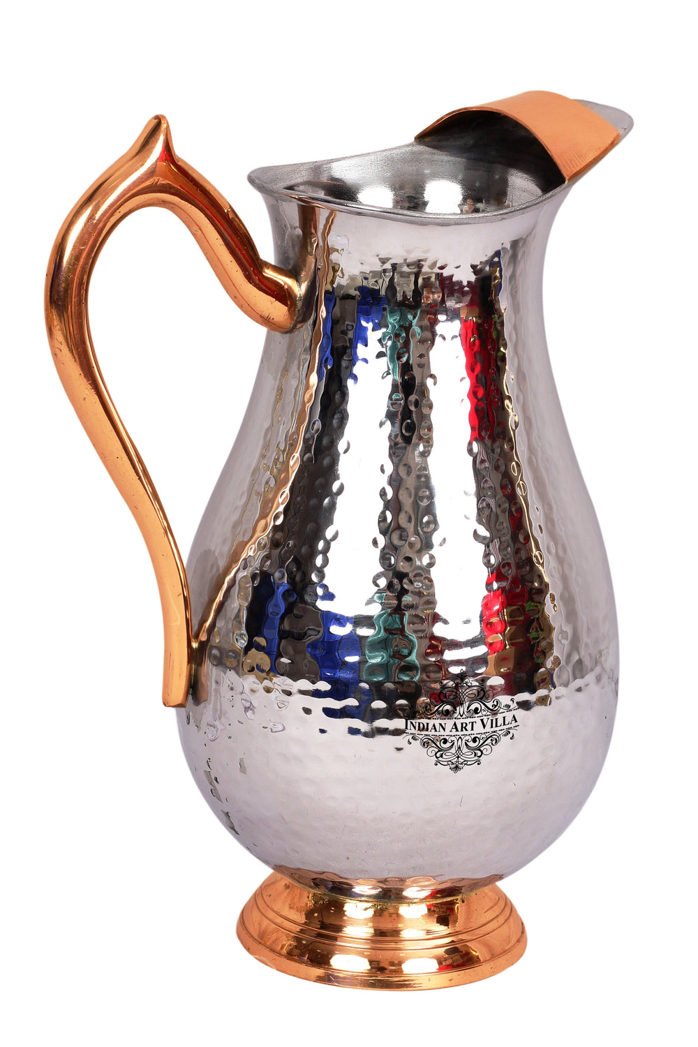 Steel Royal Hammered Jug Pitcher with Brass Handle|Serving Water 2000 ML Steel Jugs SS-5