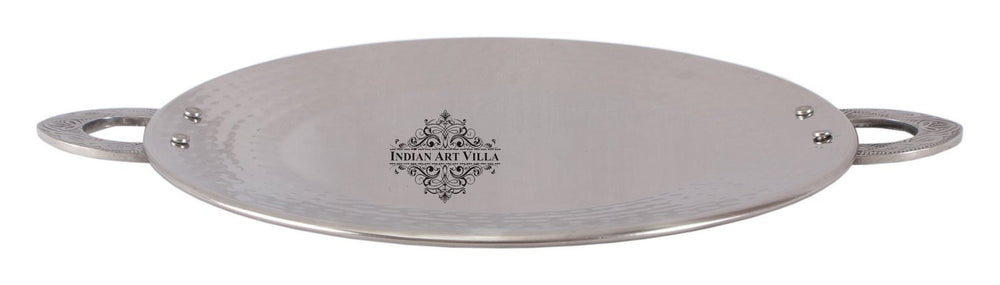 Steel Serving Hammered Design Tawa Pan with Emboss Handle