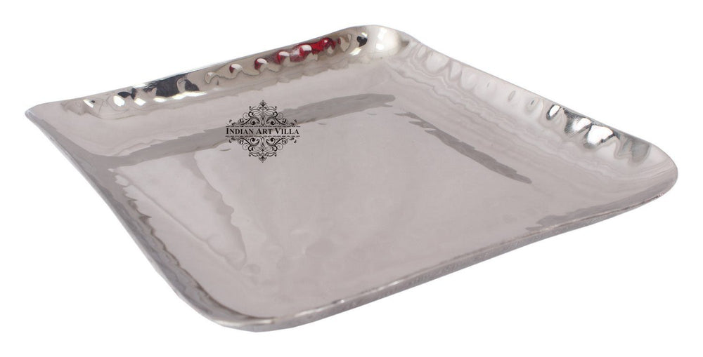 Steel Square Hammered Design Platter Tray for Serving Dishes Tray Indian Art Villa