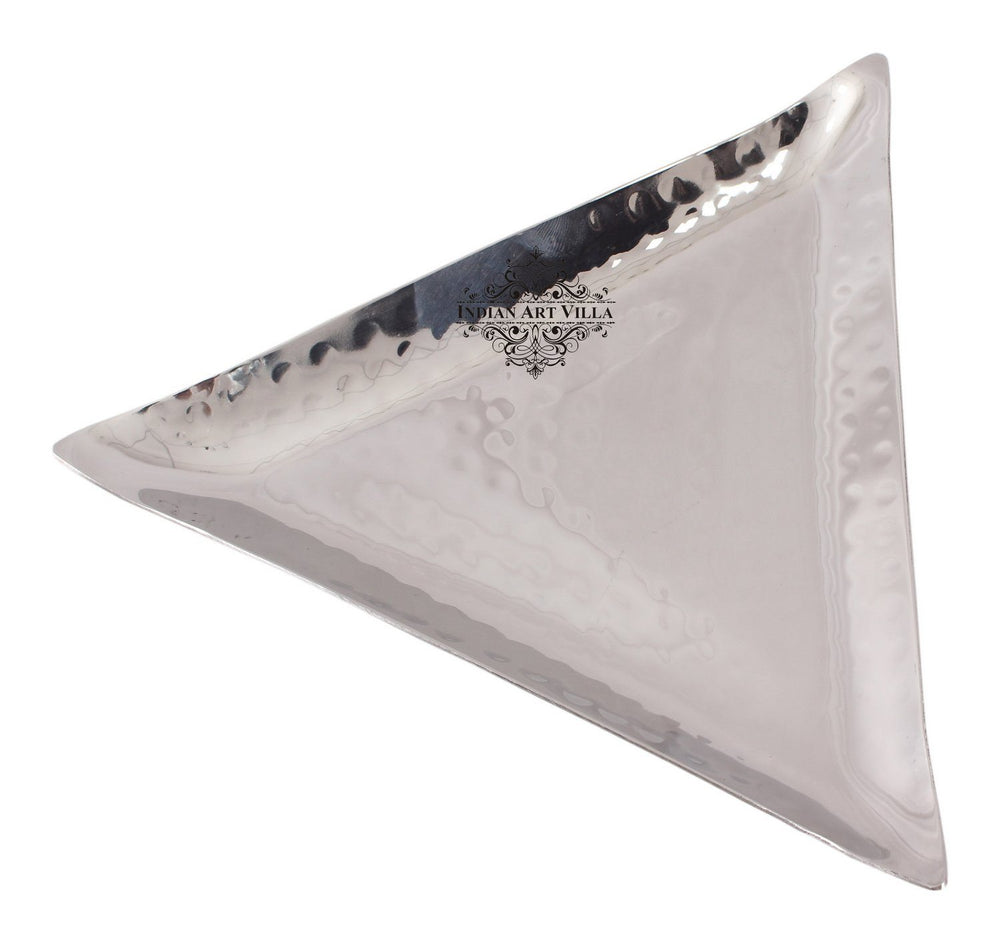 Steel Triangular Hammered Design Platter Tray for Serving Dishes Tray Indian Art Villa