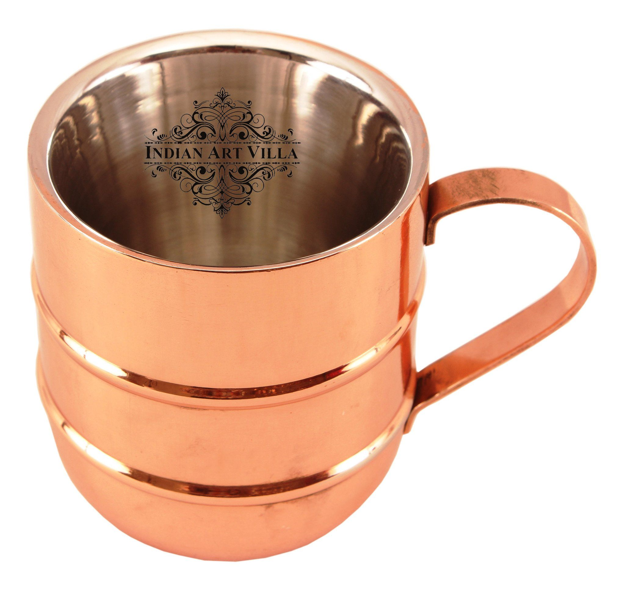 Steel with Copper Plated Beer Mug Moscow Mule Cup with 2 Rings 100 ML