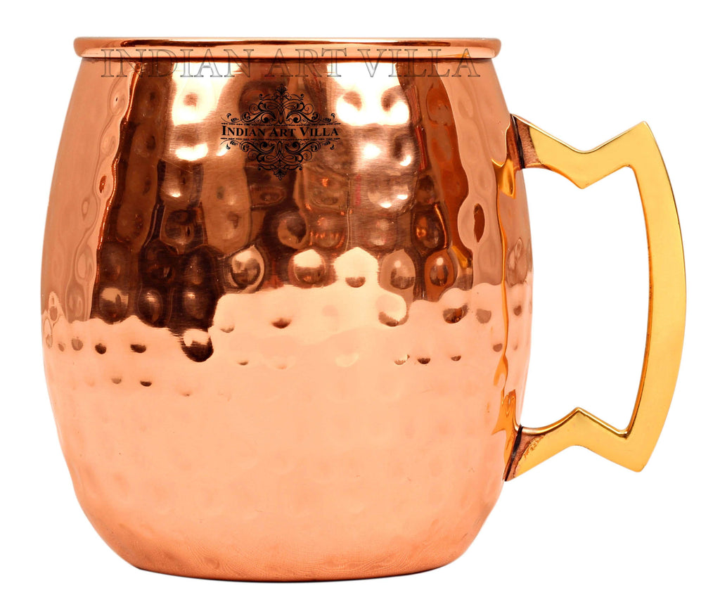 Steel with Copper Plated Hammered Beer Mug with Brass Designer Handle