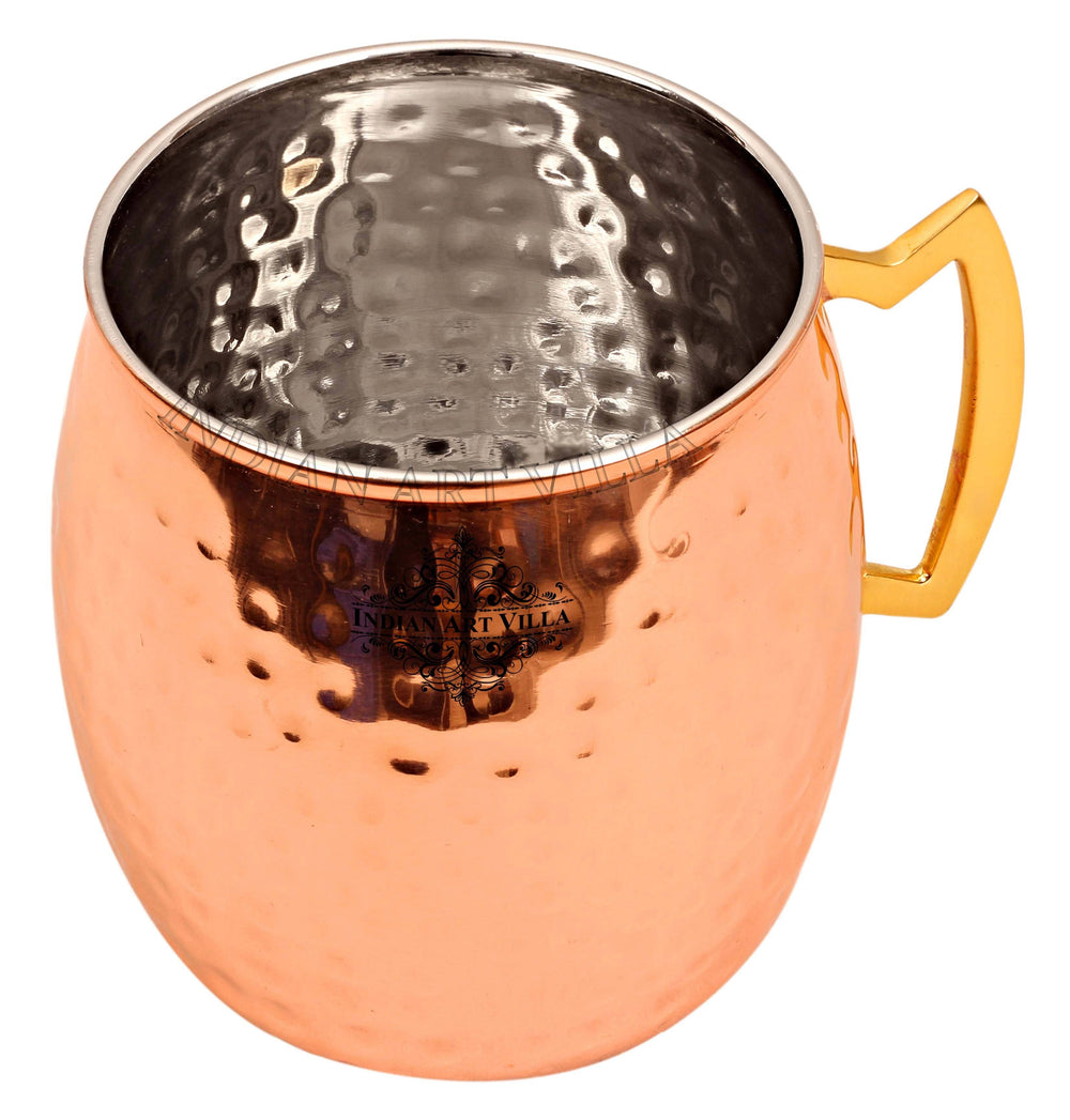 Steel with Copper Plated Hammered Beer Mug with Brass Designer Handle Beer Mugs IAV-SS-6-101-1
