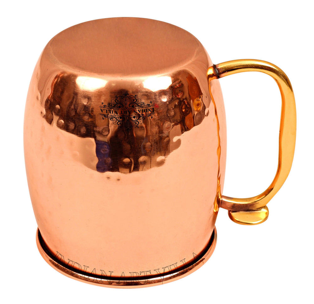 Steel with Copper Plated Hammered Beer Mug With Brass Thumb Design Handle Beer Mugs IAV-SS-6-101-2